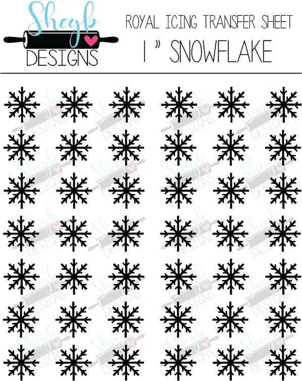 One Inch Snowflake Transfer Sheet