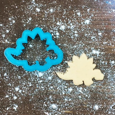 Steve Stegosaurus Cookie Cutter with Cookie
