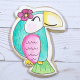 Summer Toucan Cookie Cutter Decorated