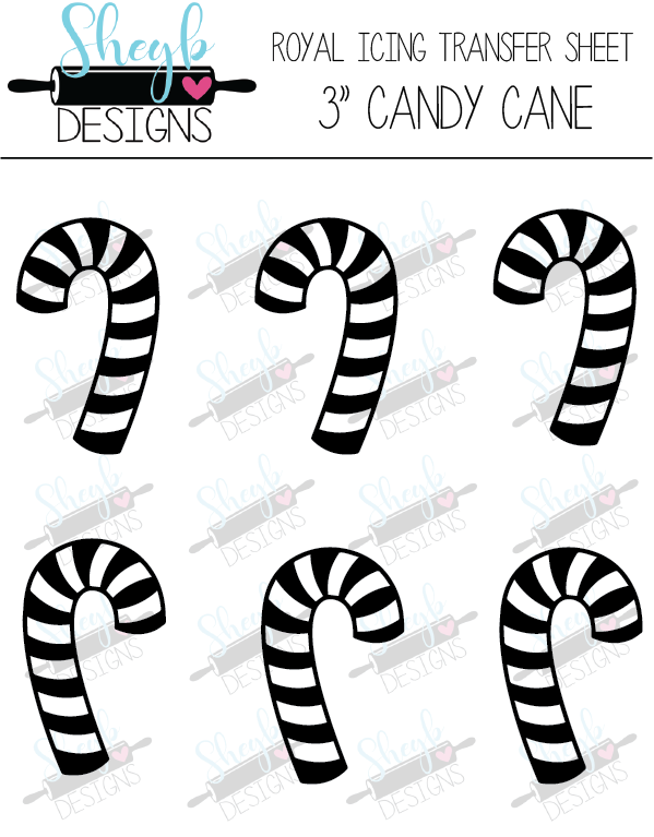 Three Inch Candy Cane Transfer Sheet