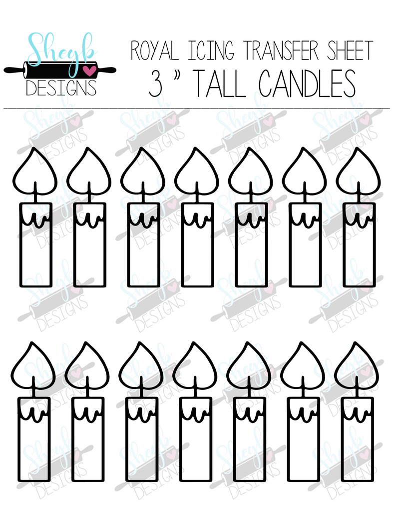 Three Inch Candles Transfer Sheet