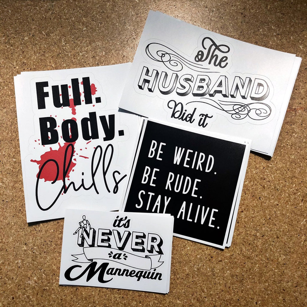 True Crime Stickers White Pack
