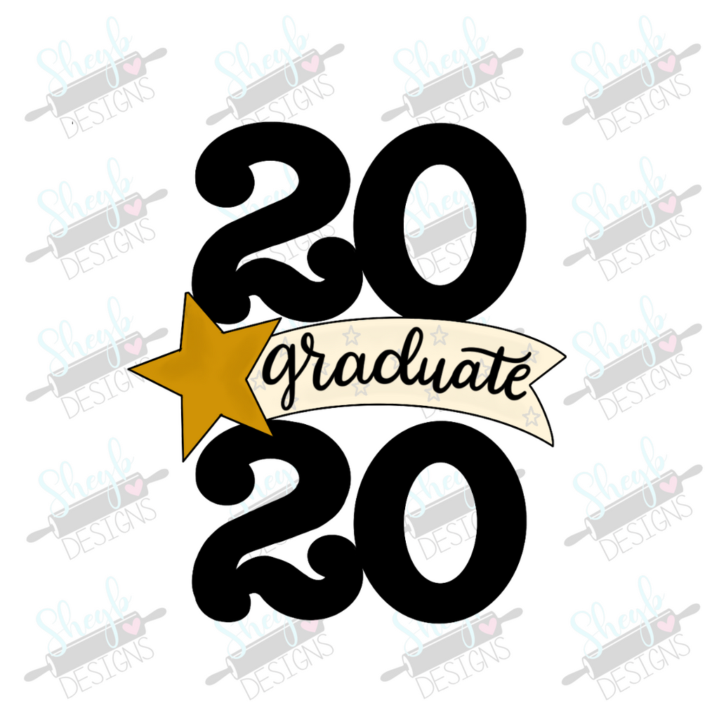 Twenty Twenty Star Banner Cookie Cutter Graduate