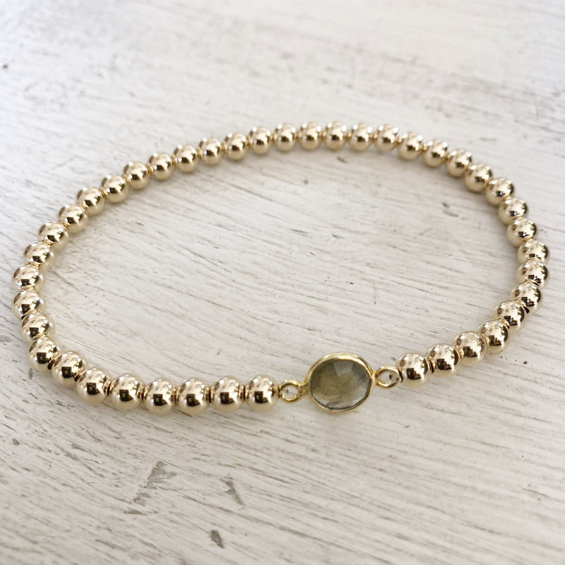 4mm Yellow Gold Filled Beaded Bracelet with Single Stone Kelly and