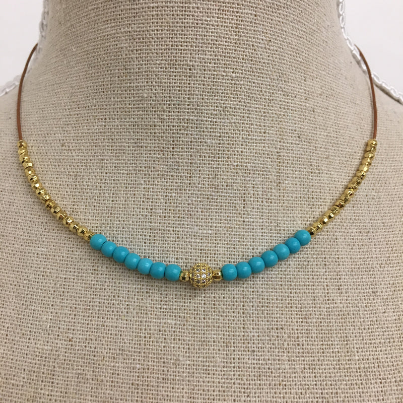 Gold Bead and Turquoise Beaded Necklace - Kelly and Rose Boutique