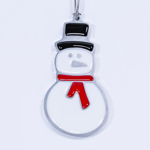 Snowman Christmas Ornament Red Scarf