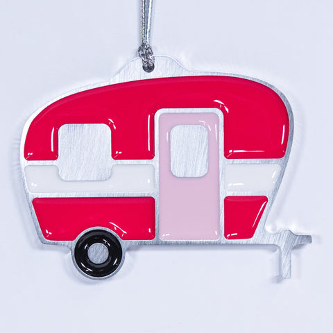Camper Christmas Ornament Hot Pink