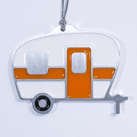 Camper Christmas Ornament White & Orange