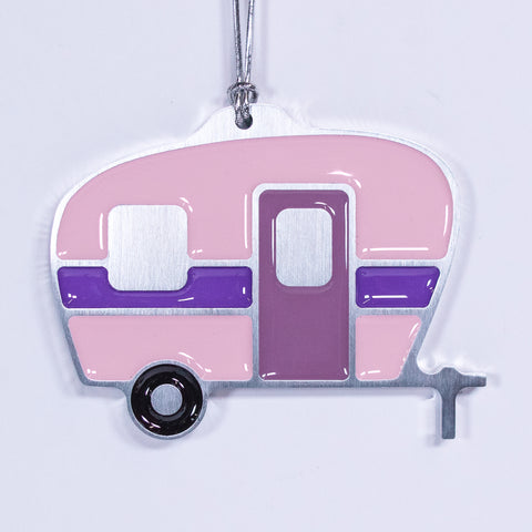 Camper Christmas Ornament Light Pink