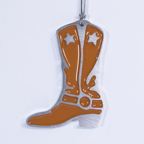 Cowboy Boot Christmas Ornament Brown