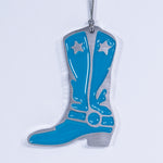 Cowboy Boot Christmas Ornament Blue