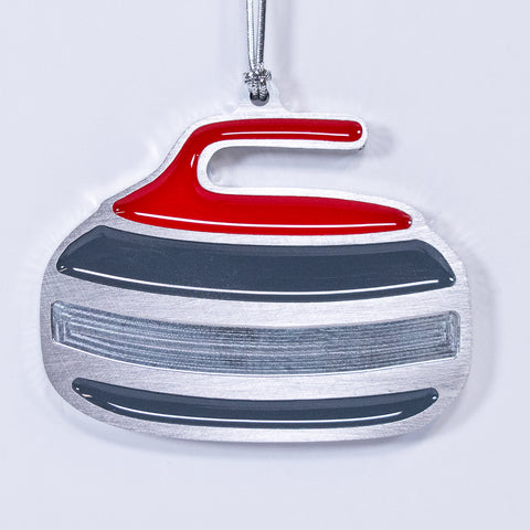 Curling Rock Christmas Ornament Red