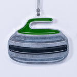Curling Rock Christmas Ornament Green