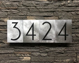 Mid Century Modern House Numbers in Brushed Aluminum