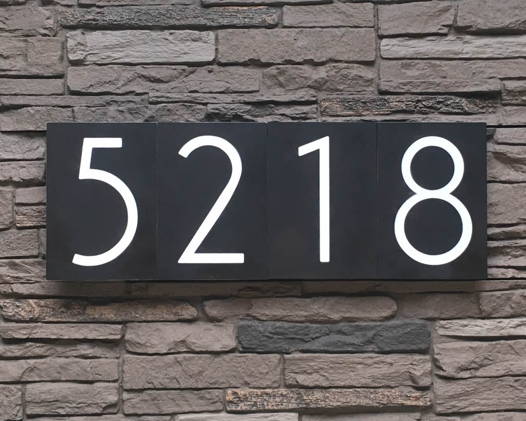 Mid Century Modern House Numbers In Patina Finish Modish Metal Art