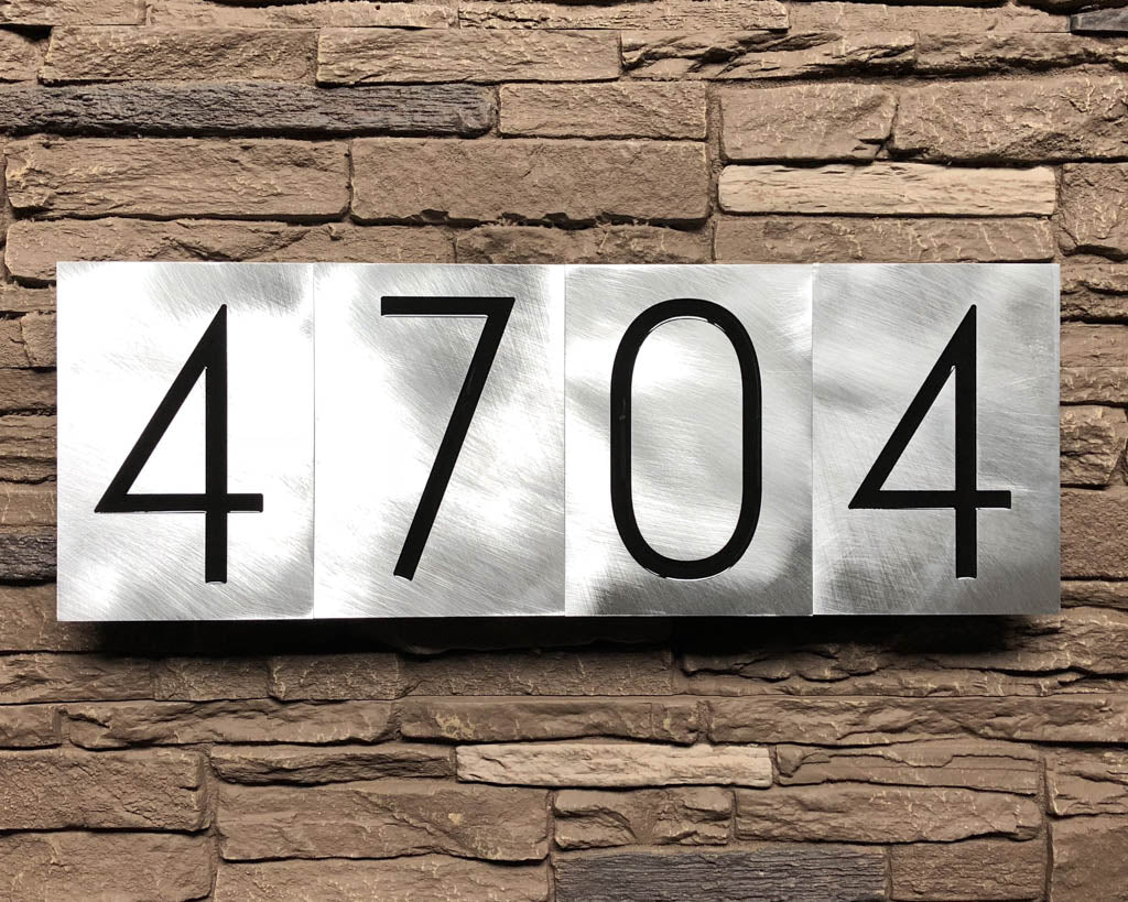 Mid Century Modern House Numbers in Brushed Aluminum ...