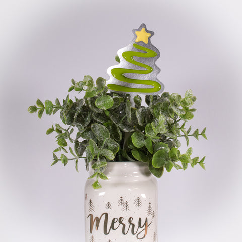 Christmas Tree Planter Poke Lime Green