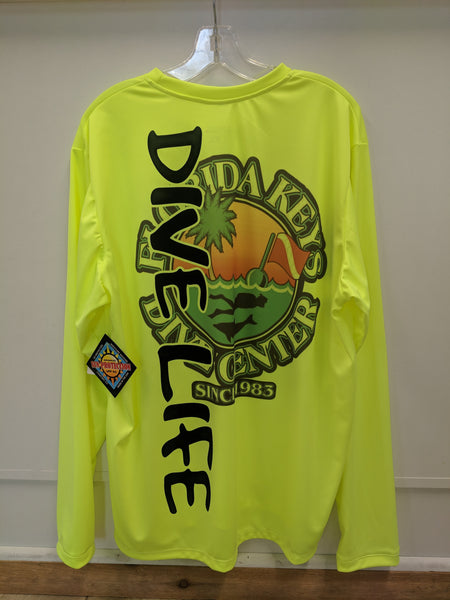 """Dive Life"" SPF Shirt Neon Yellow"