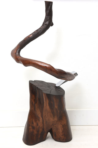 Contemporary Wood Sculpture With Axe