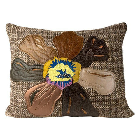 Brown Flower Hand-Woven Pillow