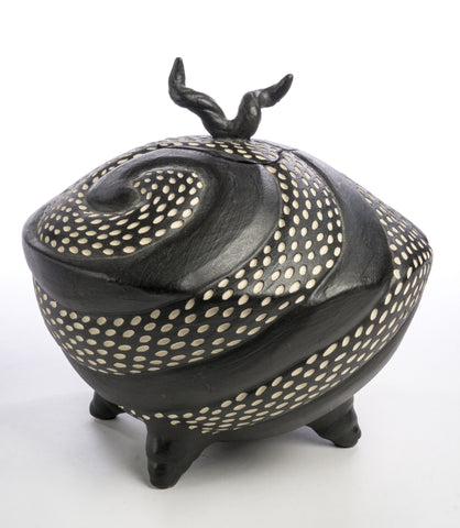 Larry Halvorsen Black and White Ceramic Vessel