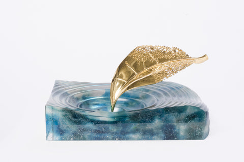"""Life Is Gold"" Glass Sculpture Tray in Aqua"