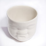 "White Ceramic ""Kissing"" Face Cup"