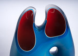 Teal Blue & Red Handblown Glass Vessel
