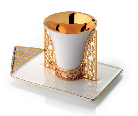 Gold Arabesque Cup, Holder, & Saucer - Set of 3*