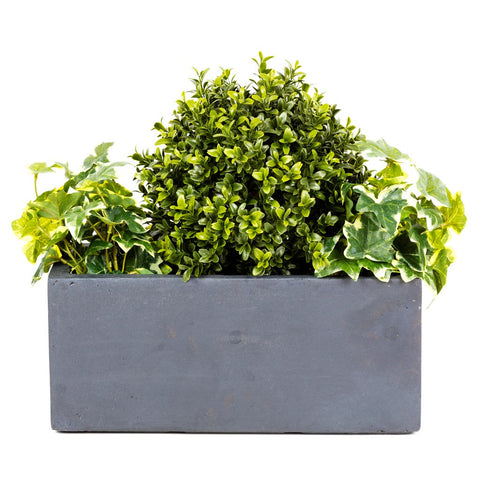 Artifical Window Box with Buxus Ball - Small