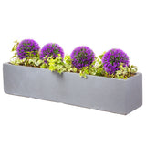 Large window box in Parisian Grey with purple flowers - Bay and Box