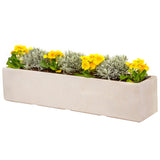Large window box in Miami white with yellow flowers - Bay and Box