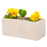 Small window box in Miami White with yellow flowers - Bay and Box