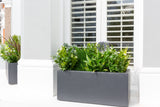 Small Hampstead Lead window box with artificial flowers