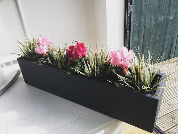Artificial Window Box with Grasses and Cyclamen - Large