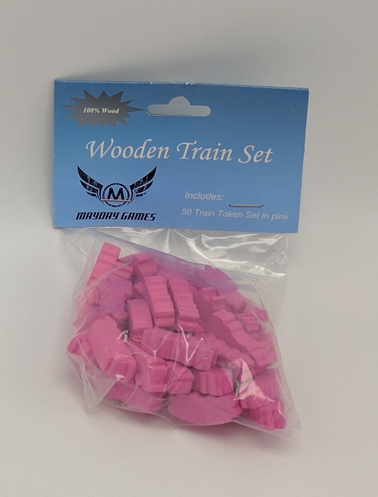 Pink Wooden Train Set (50 trains) -  - Mayday Games - 1