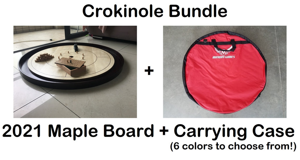 2021 Maple Crokinole Hardwood Tournament Board + Carrying Case (6 Colors to Choose From)