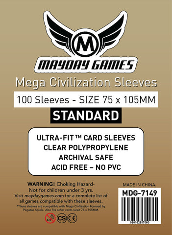 Mega Civilization Sleeves (75x105mm) - 100 Standard Sleeves -  - Mayday Games