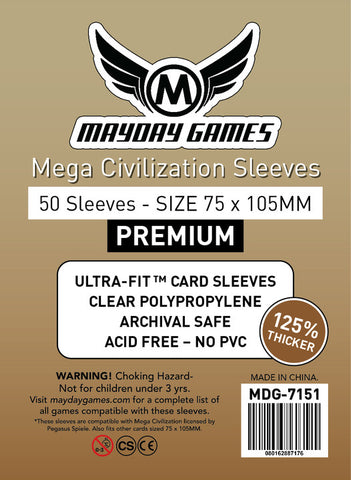 Mega Civilization Sleeves (75x105mm) - 50 Premium Sleeves -  - Mayday Games