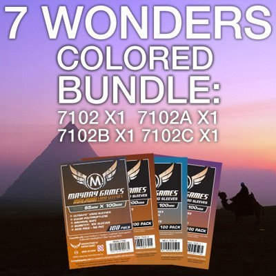 """7 Wonders"" Card Sleeve Kit - Standard Protection (Colored Backs) - Mayday Games - 1"