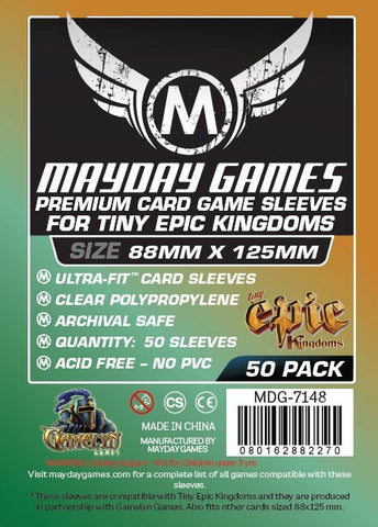 """Tiny Epic Kingdoms"" Card Sleeves (88x125mm) - Premium Protection (50 sleeves per pack) - Mayday Games - 1"