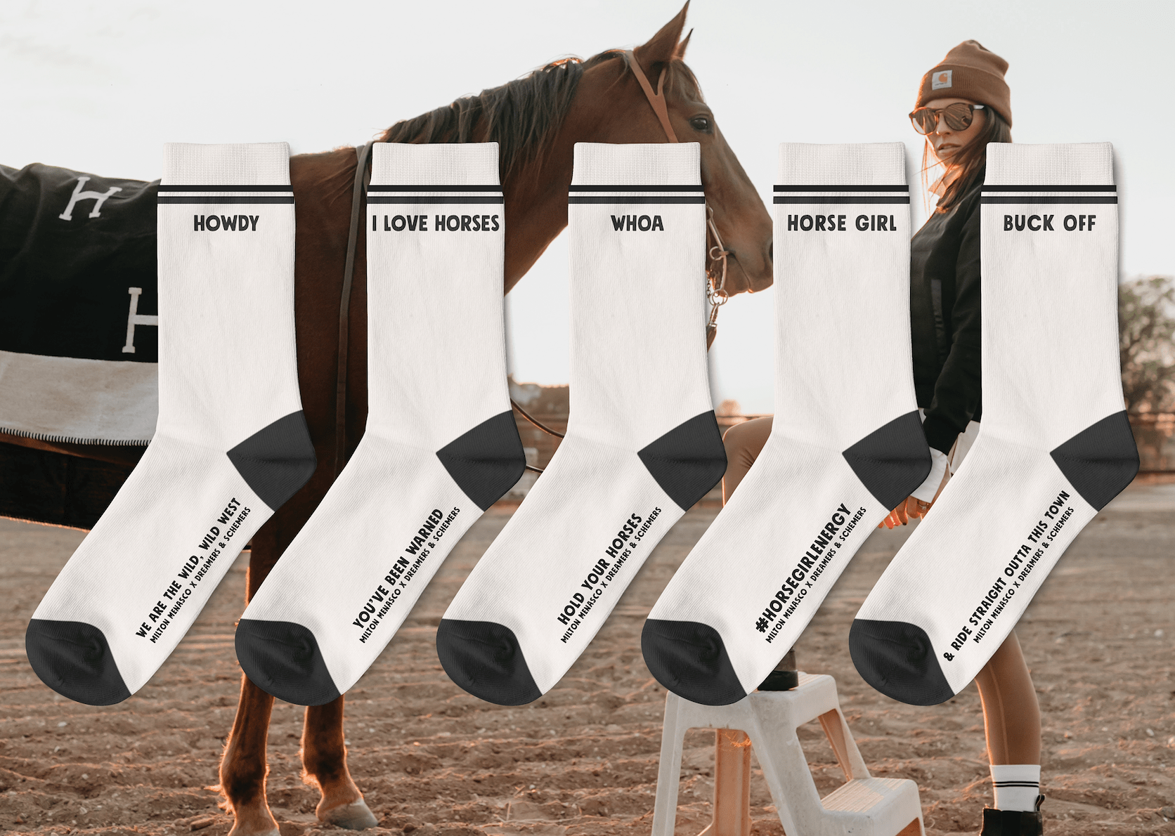dreamers & schemers Crew Sock Milton Menasco X D&S Gift Pack equestrian boot socks boot socks thin socks riding socks pattern socks tall socks funny socks knee high socks horse socks horse show socks