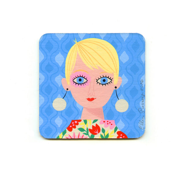 S1 Ellen Surrey - Blue Mod Girl Coaster