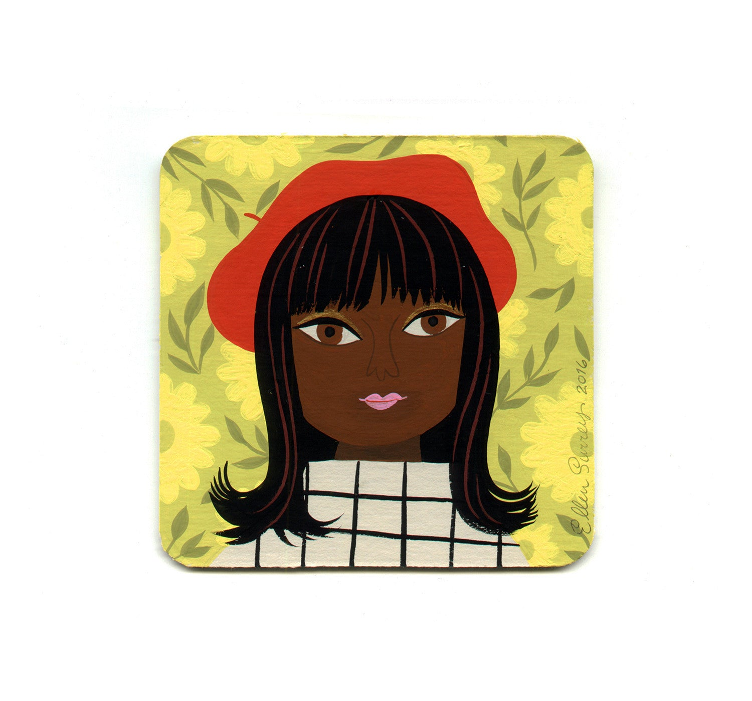Ellen Surrey - Yellow Mod Girl Coaster