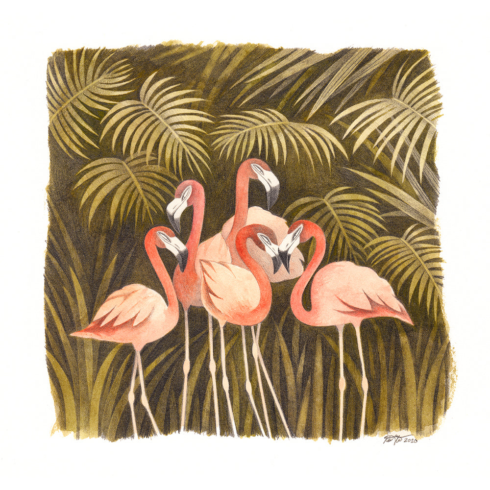 Kim Slate - Five Flamingos Print