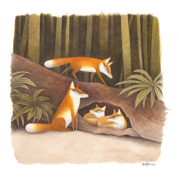 Kim Slate - Four Foxes Print
