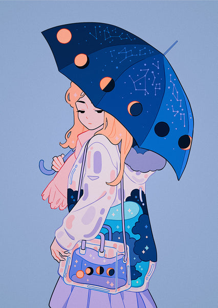 Meyoco - Moon Umbrella Print