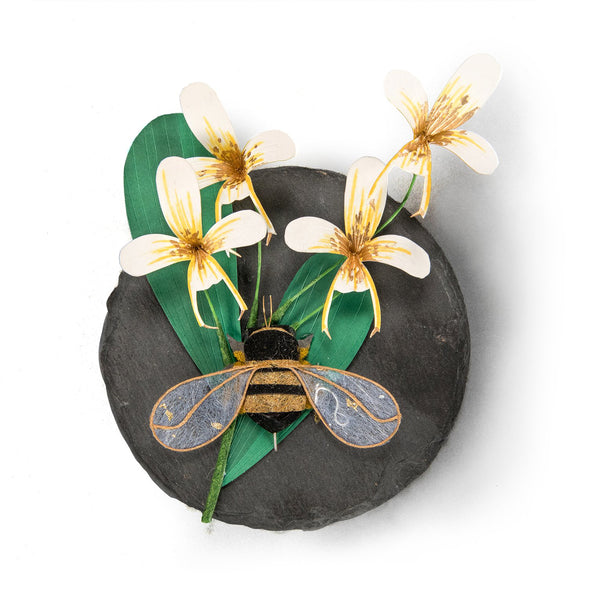 Austen Weitzel - Honeybee with Orchid on Slate