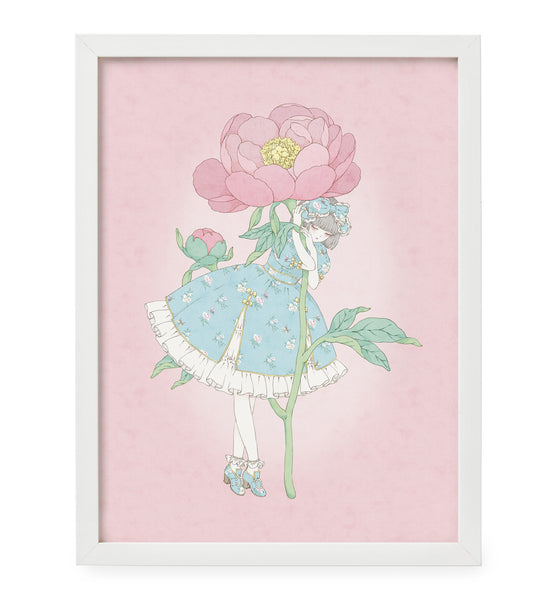 Kira Imai - Peony Dress (Mint) Framed Print