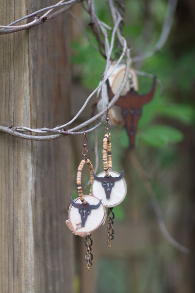 Birch Wood Longhorn Earrings